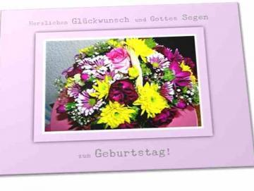 Christliche Geburtstagskarte: Blumenkorb - Faltkarte