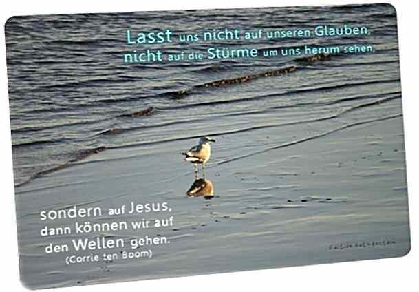 Christliche Postkarte: Möwe am Meeresufer