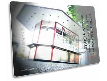Christliche Postkarte: Imbissbude