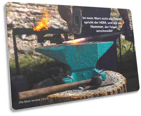 Christliche Postkarte Motiv: Amboss und Hammer - Jeremia 23,29
