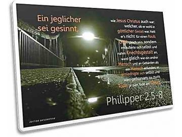 Christliche Postkarte: Brücke in Regennacht