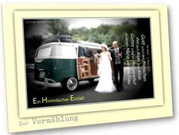 Christliche Hochzeitskarte: Brautpaar vor VW-Bus Oldtimer