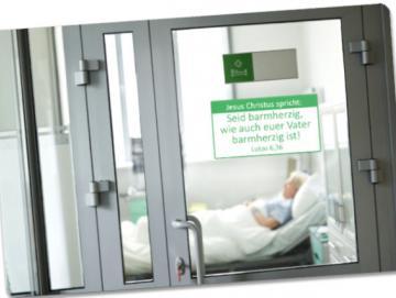 Postkarte Jahreslosung 2021: Blick in Krankenzimmer