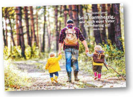 Poster Jahreslosung 2021: Vater auf Wanderung m.s. Kindern Plakat DIN A 4  u. A3 ✅
