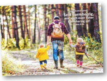 Poster Jahreslosung 2021  - Vater auf Wanderung m.s. Kindern Plakat DIN A 2 ✅
