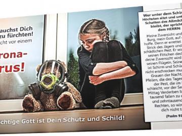 "Christliche Postkarte: Mädchen mit Atemmasken-Teddy"" - Coronavirus Trostkarte"