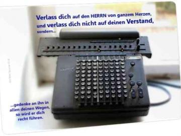 """Christliche Postkarte: Historische Rechenmaschine"""" - Sprüche 3,5-6"""