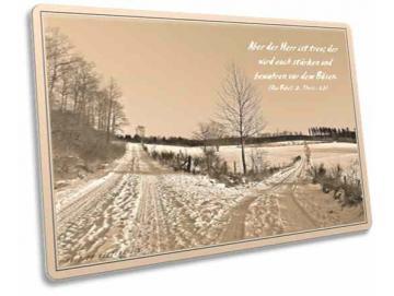 Christliche Postkarte  - Feldwege im Schnee