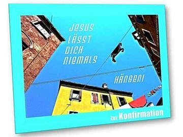 Christliche Konfirmationskarte - Einsames Hemd auf Wäschleine