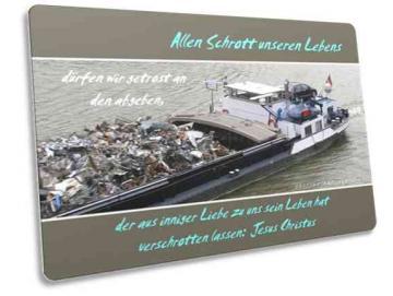 Christliche Postkarte: Frachtschiff mit Schrottladung