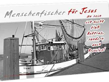 Christliche Postkarte: Krabbenkutter im Dangaster Hafen