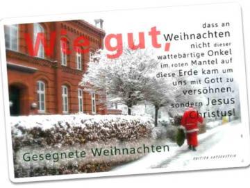 Christliche Weihnachtskarte: Weihnachtsmann im Einsatz Postkarte
