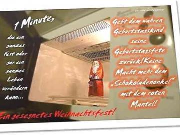 Christliche Weihnachtskarte: Schoko-Weihnachtsmann in Mikrowelle - Postkarte