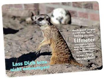 Christliche Postkarte: Erdmännchen vor Fußball - Ermutigung