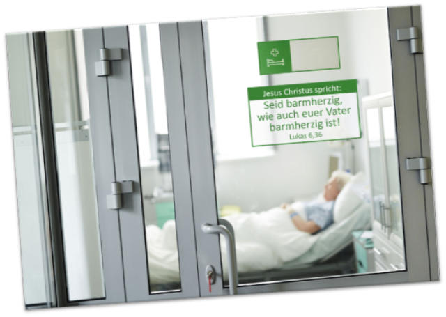 Poster Jahreslosung 2021  - Blick in Krankenzimmer - Plakat A 4  u. A3 ✅