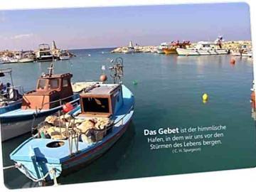 Christliche Postkarte: Fischerhafen auf Zypern - Zitat von Spurgeon