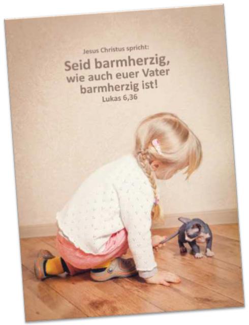 Poster Jahreslosung 2021: Mit Kätzchen spielendes Mädchen