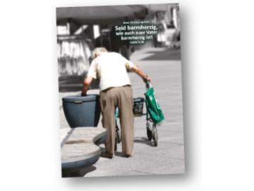 Jahreslosung 2021 Faltkarte: Rentner am Mülleimer
