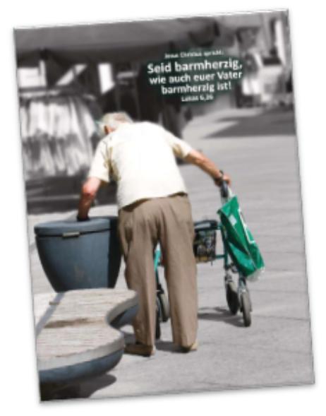 Poster Jahreslosung 2021 - Rentner am Mülleimer