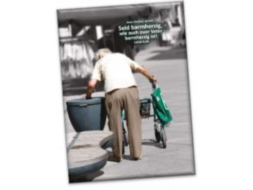 Leinwanddruck Jahreslosung 2021: Rentner am Mülleimer