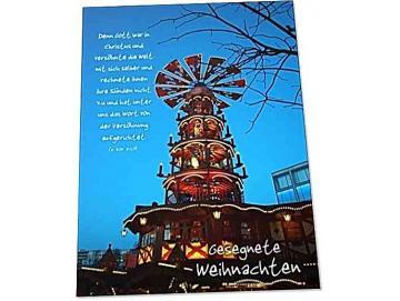 Christliche Weihnachtskarte: Weihnachtspyramide