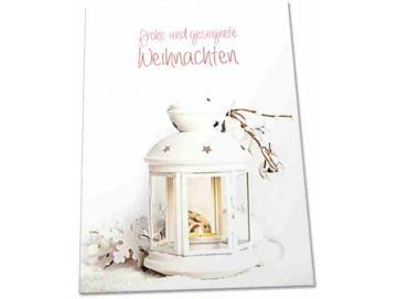 Christliche Weihnachtskarte -Motiv: Weiße Laterne