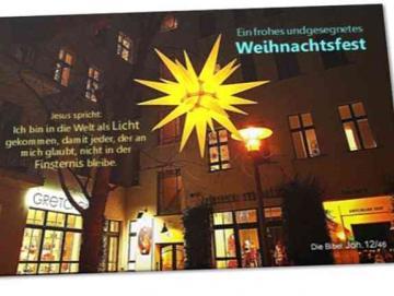 Christliche Weihnachtskarte - Motiv: Herrhuter Weihnachtsstern