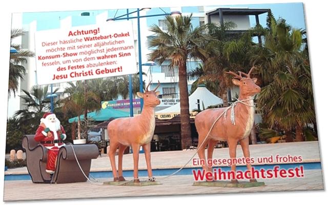 Christliche Weihnachtskarte: Plastik-Weihnachtsmann