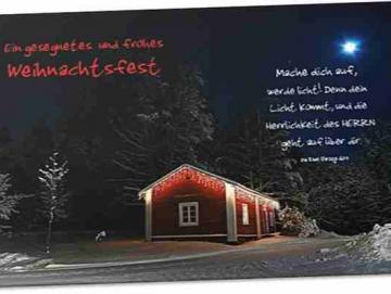 Christliche Weihnachtskarte: Holzhütte im Schnee
