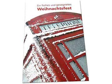 Christliche Weihnachtskarte: Britische Telefonzelle 2