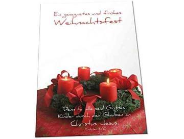 Christliche Weihnachtskarte: Weihnachtskranz