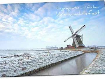 Christliche Weihnachtskarte: Windmühle in Winterlandschaft