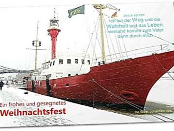 Christliche Weihnachtskarte:  Feuerschiff Weser