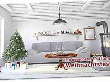 Christliche Weihnachtskarte: Kuscheliges Wohnzimmer