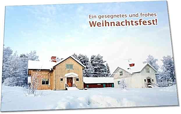 Christliche Weihnachtskarte: Gehöft im Schnee