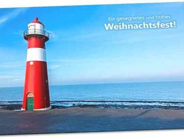 Christliche Weihnachtskarte: Roter Leuchtturm