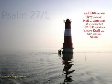 Christlicher Leinwanddruck: Arngaster Leuchtturm im Gegenlicht