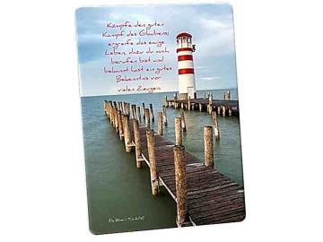 Christliche Postkarte: Leuchtttum und Holzstege - Karte mit Bibelvers: 1. Tim. 6,12