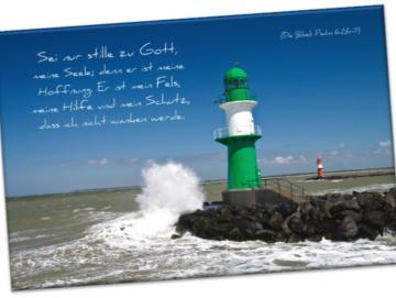 Christlicher Leinwanddruck: Leuchtturm-Molenfeuer Warnemünde-