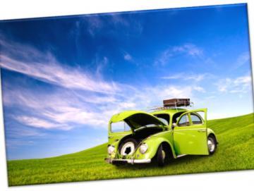 Leinwanddruck: VW Käfer - Grüner Oldimer