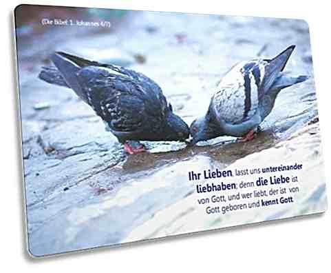 Christliche Postkarte: Trinkendes Taubenpaar