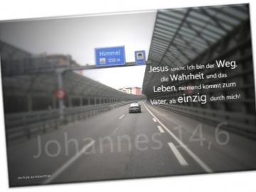 Christlicher Leinwanddruck: Autobahnszene mit Schilderbrücke