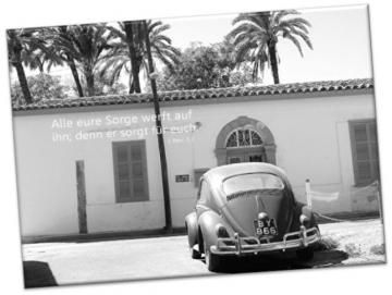 Christlicher Leinwanddruck: Straßenszene mit VW Käfer