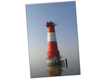 Leinwanddruck: Leuchtturm Arngast im Herbstnebel