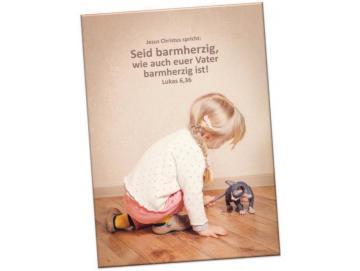Kühlschrankmagnet Jahreslosung 2021: Mädchen m. Kätzchen- 10er-Set