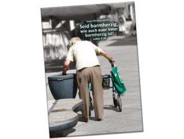 Kühlschrankmagnet Jahreslosung 2021: Rentner am Mülleimer