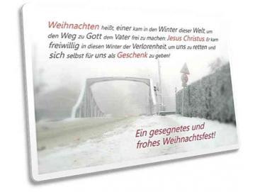 Christliche Weihnachtskarte: Brücke in Winterstimmung