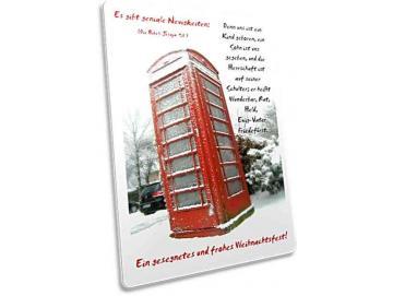 Christliche Weihnachtskarte: Vereiste Telefonzelle