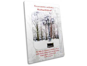 Postkarte als Weihnachtskarte: Kandelaber im Winterkleid