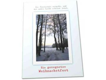 Christliche Weihnachtskarte: Winterwald